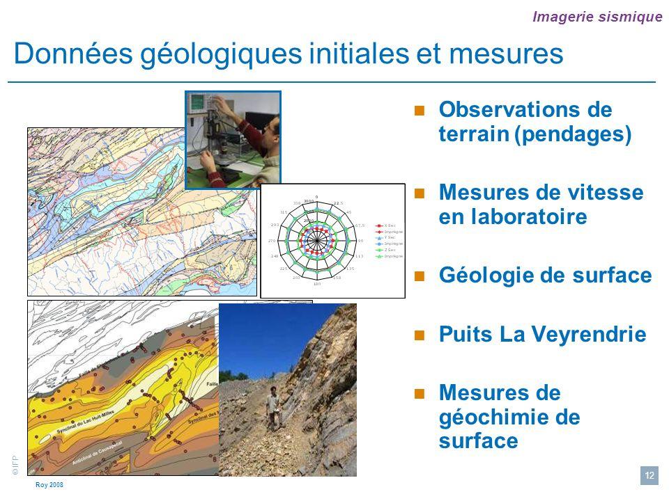 Données géologiques initiales et mesures
