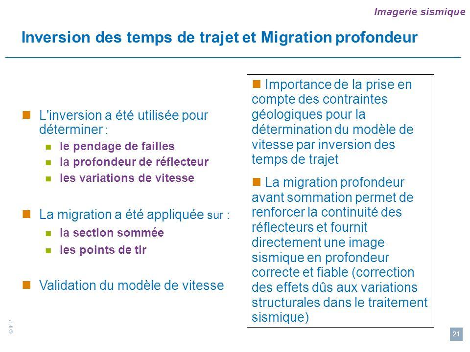 Inversion des temps de trajet et Migration profondeur
