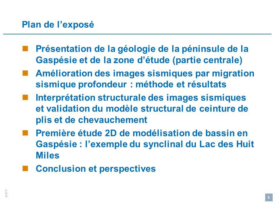 Plan de l'exposé Présentation de la géologie de la péninsule de la Gaspésie et de la zone d'étude (partie centrale)