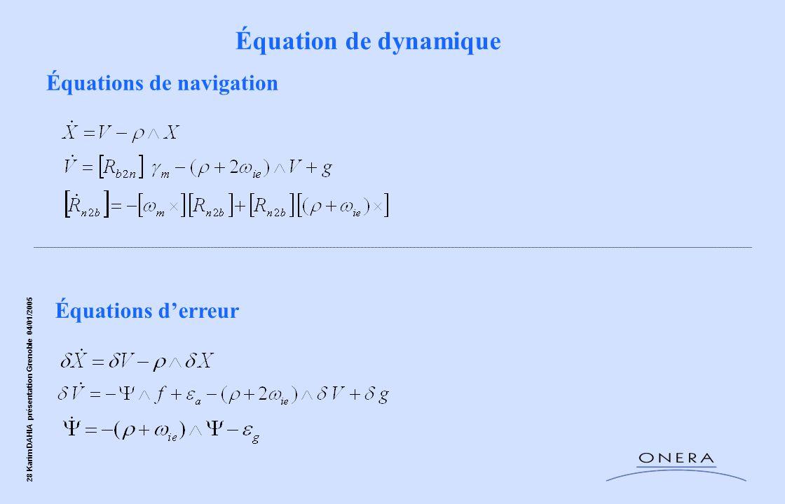 Équation de dynamique Équations de navigation Équations d'erreur