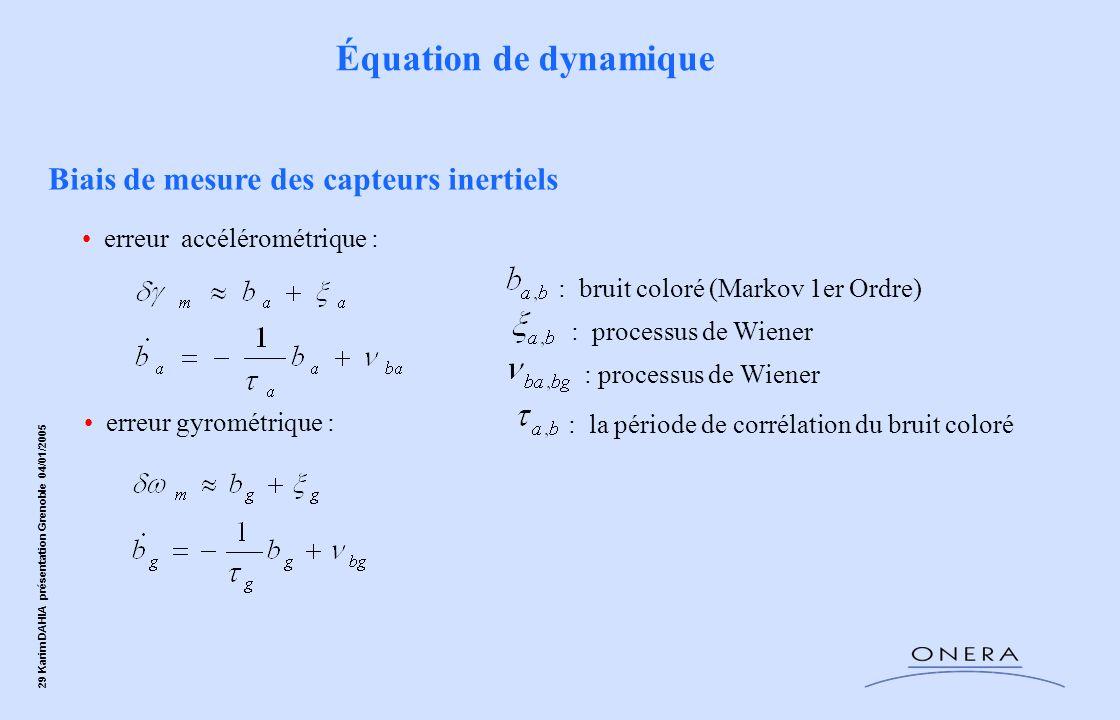 Équation de dynamique Biais de mesure des capteurs inertiels