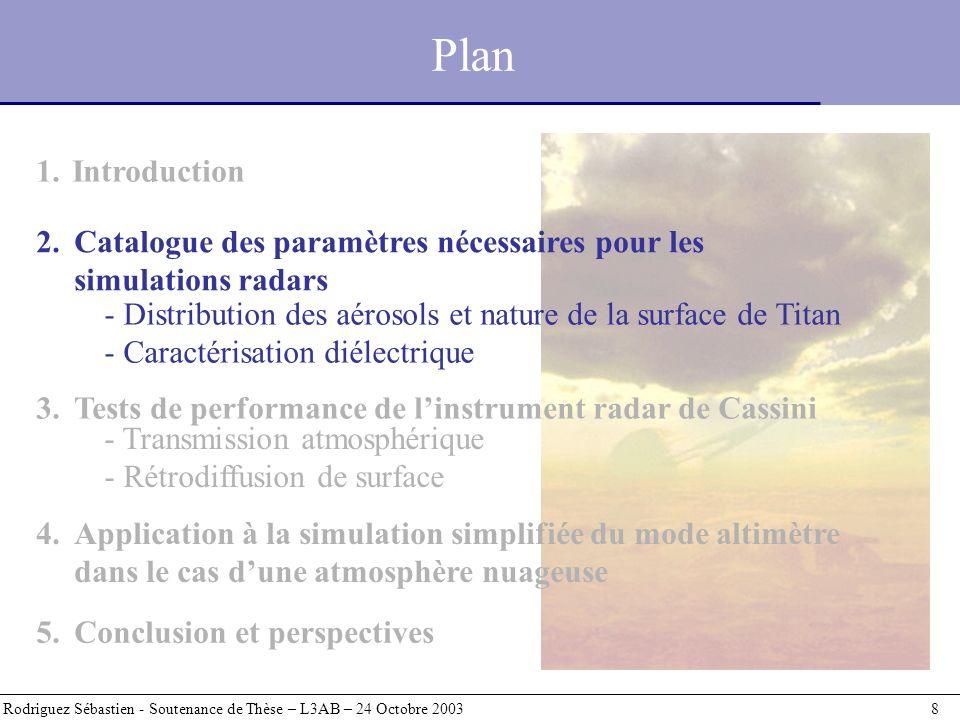 Plan Introduction. 2. Catalogue des paramètres nécessaires pour les simulations radars.