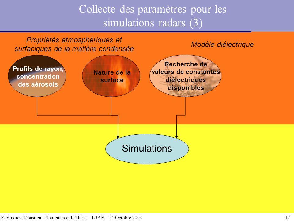 Collecte des paramètres pour les simulations radars (3)