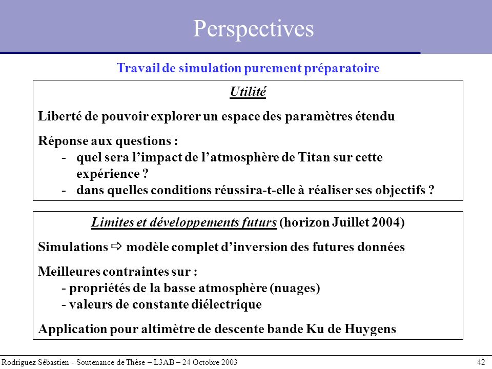 Perspectives Travail de simulation purement préparatoire Utilité