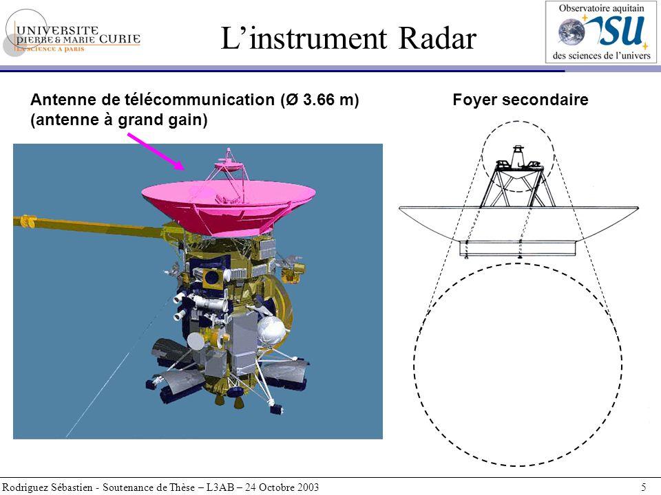 L'instrument Radar Antenne de télécommunication (Ø 3.66 m)