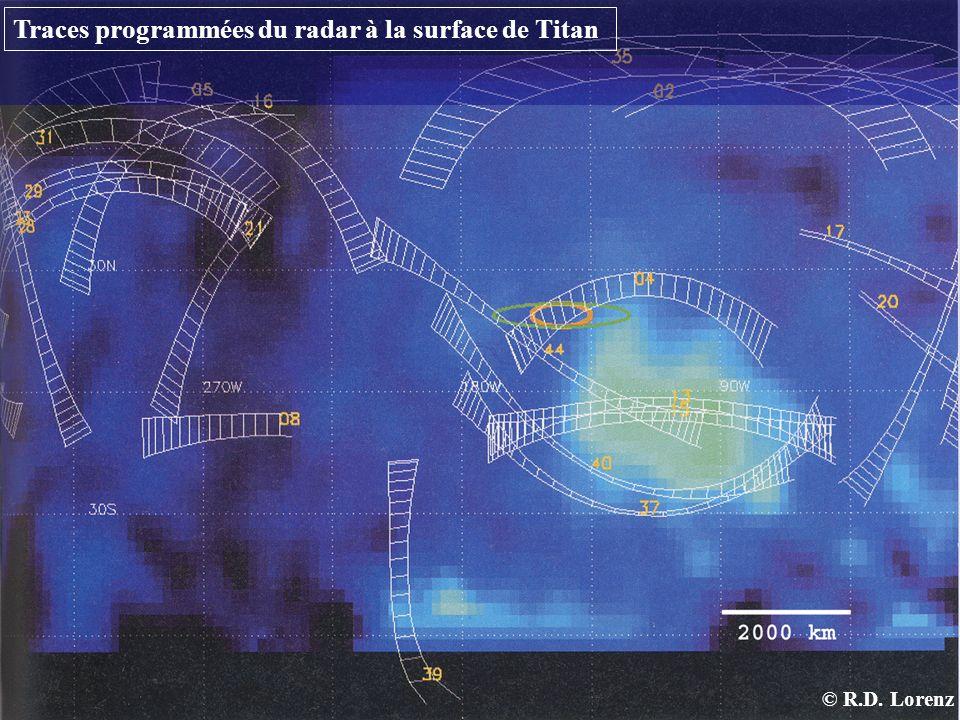 Traces programmées du radar à la surface de Titan
