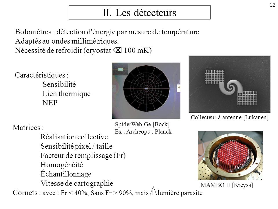 II. Les détecteurs Bolomètres : détection d énergie par mesure de température. Adaptés au ondes millimétriques.