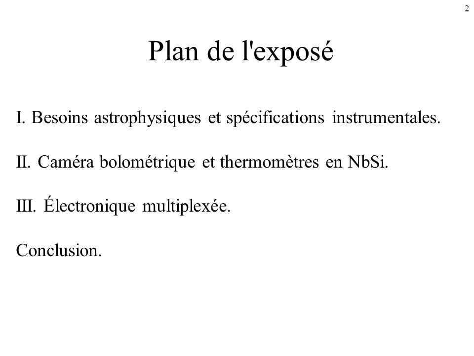 Plan de l exposé I. Besoins astrophysiques et spécifications instrumentales. II. Caméra bolométrique et thermomètres en NbSi.
