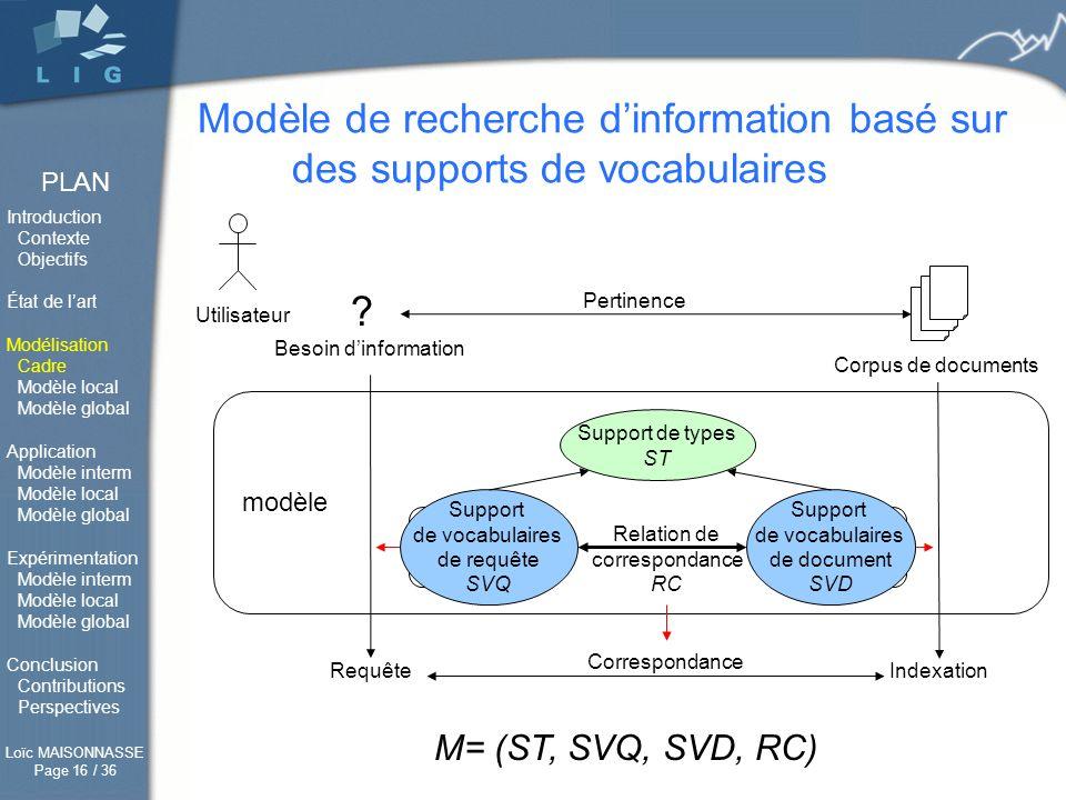 Modèle de recherche d'information basé sur des supports de vocabulaires