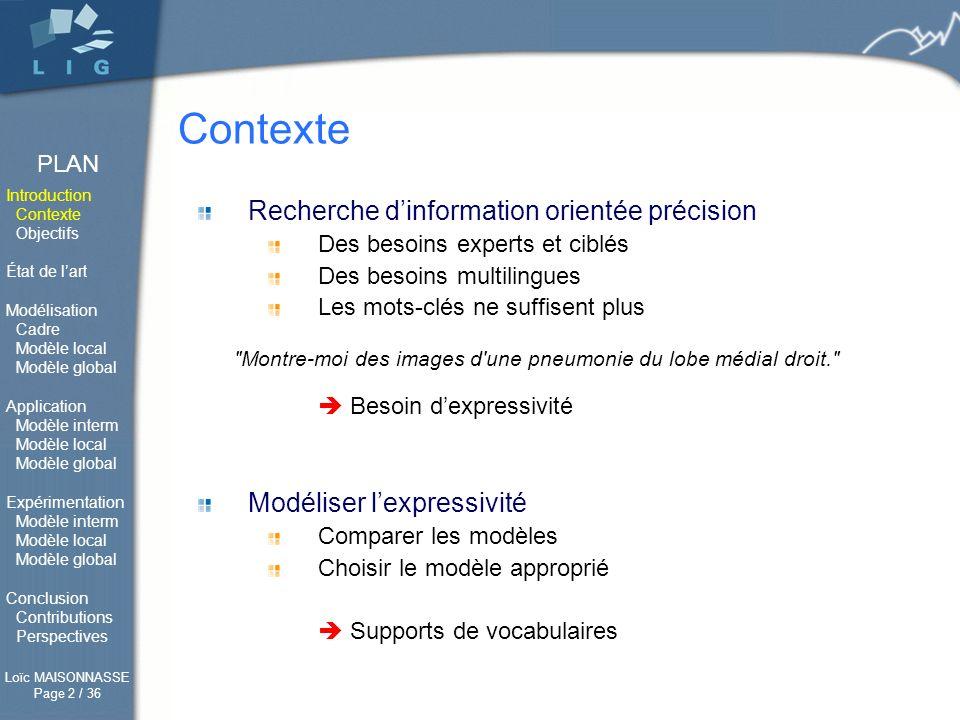 Contexte Recherche d'information orientée précision