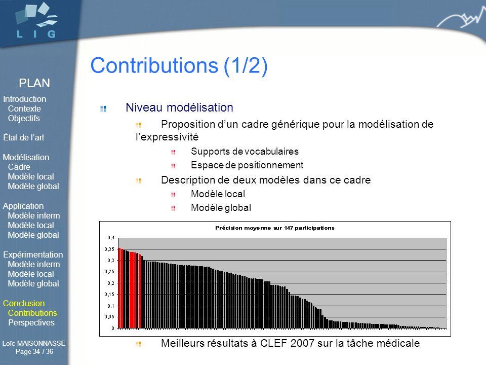 Contributions (1/2) Niveau modélisation Niveau traitement