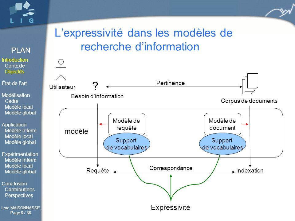 L'expressivité dans les modèles de recherche d'information