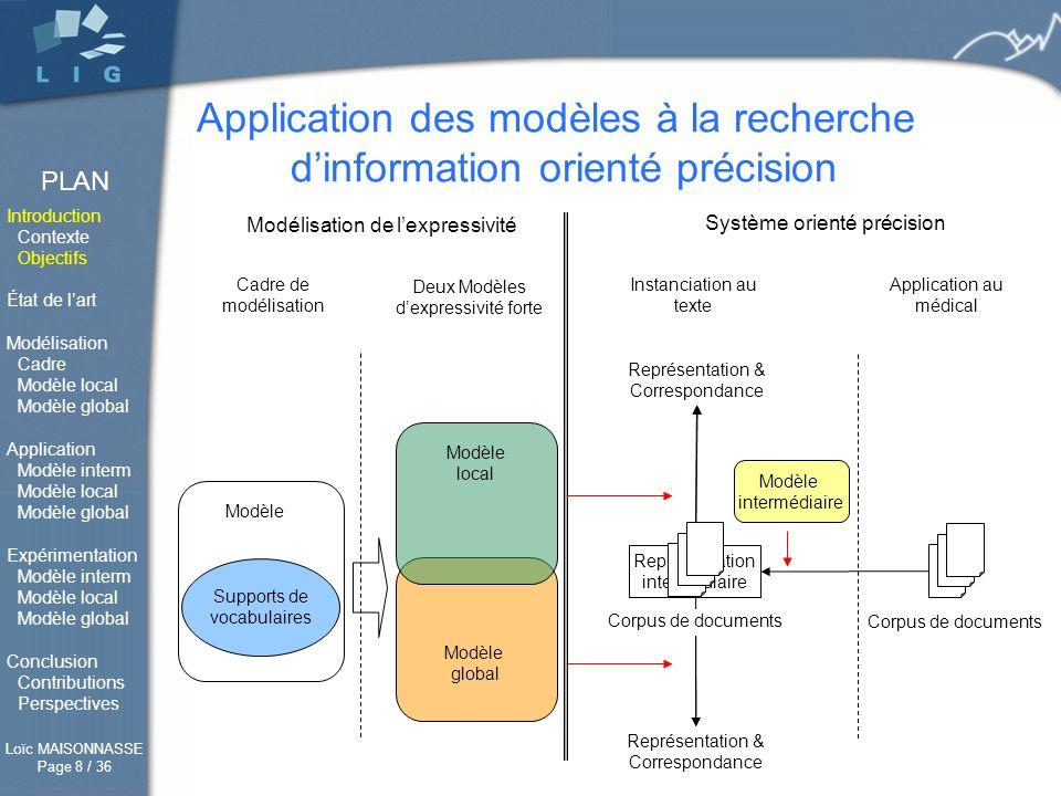 Application des modèles à la recherche d'information orienté précision