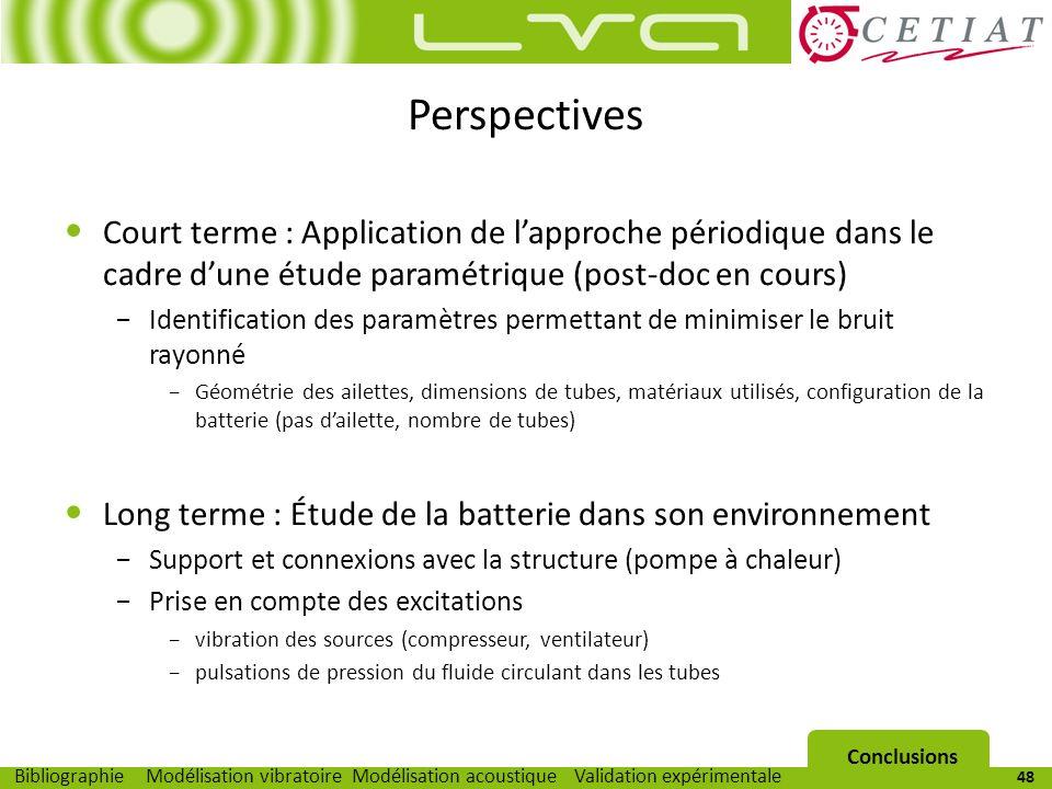 Perspectives Court terme : Application de l'approche périodique dans le cadre d'une étude paramétrique (post-doc en cours)