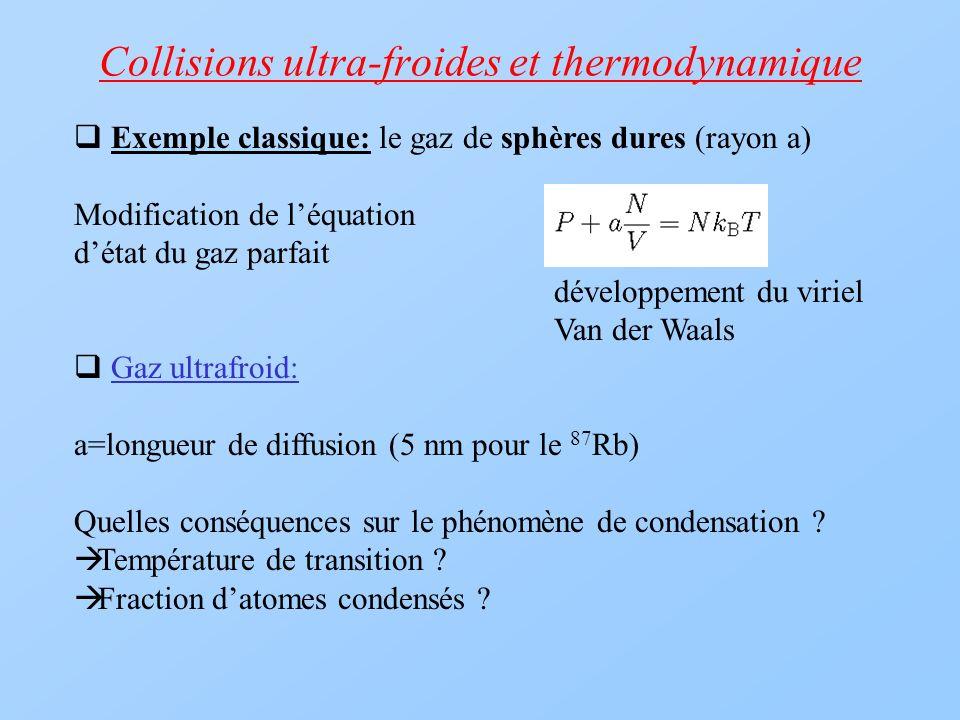 Collisions ultra-froides et thermodynamique