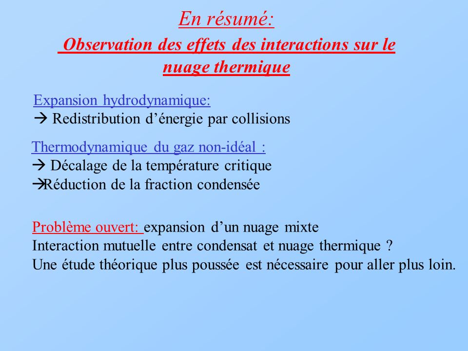 En résumé: Observation des effets des interactions sur le nuage thermique