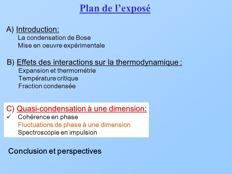 Plan de l'exposé A) Introduction: