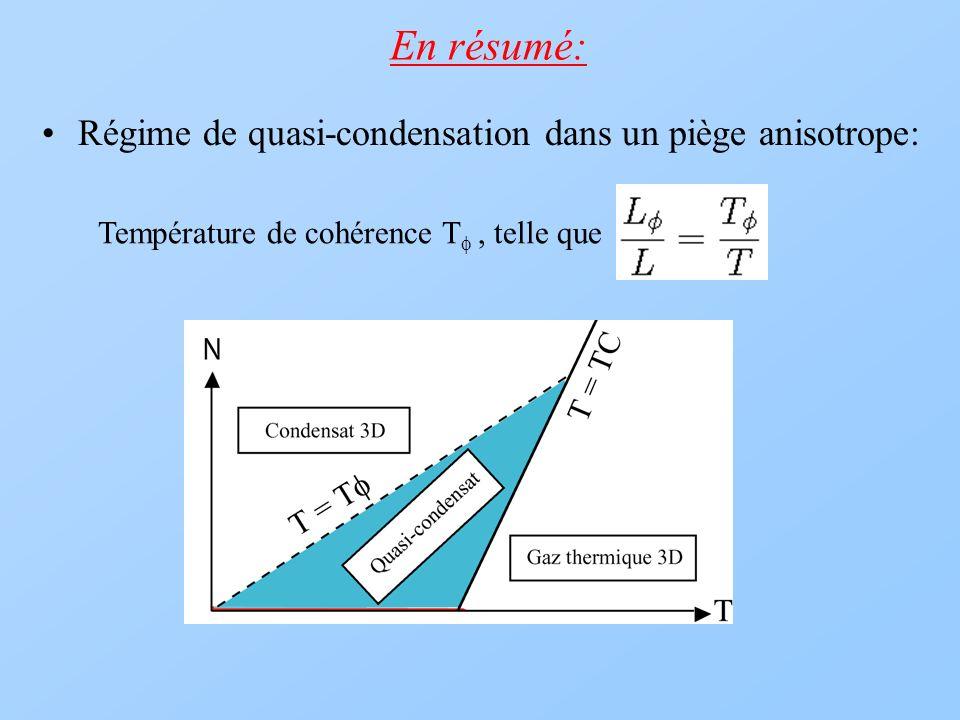 En résumé: Régime de quasi-condensation dans un piège anisotrope: