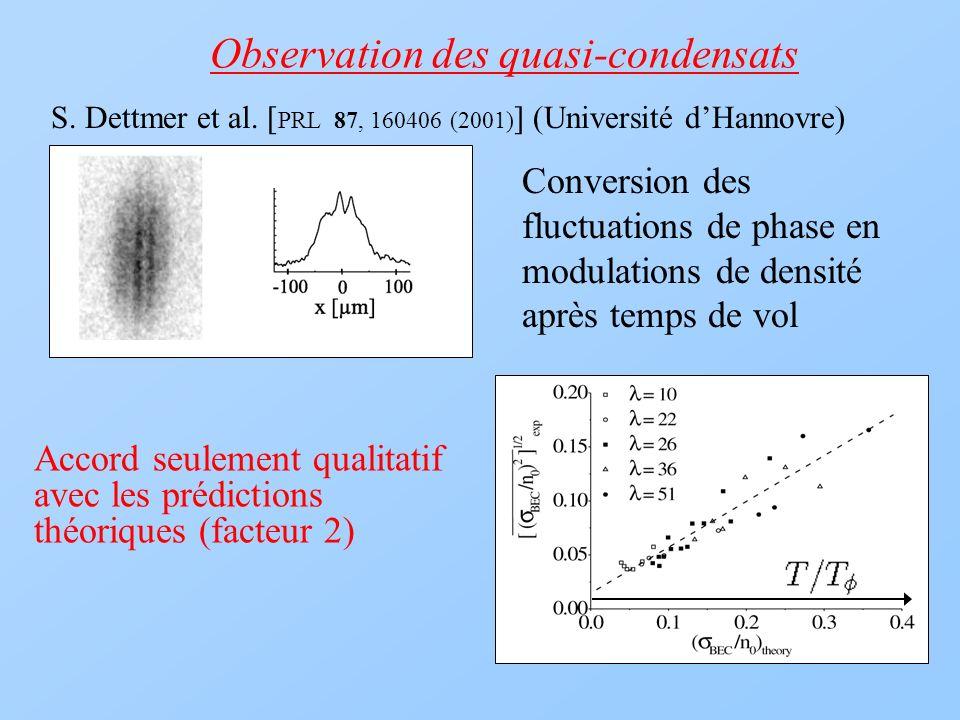 Observation des quasi-condensats