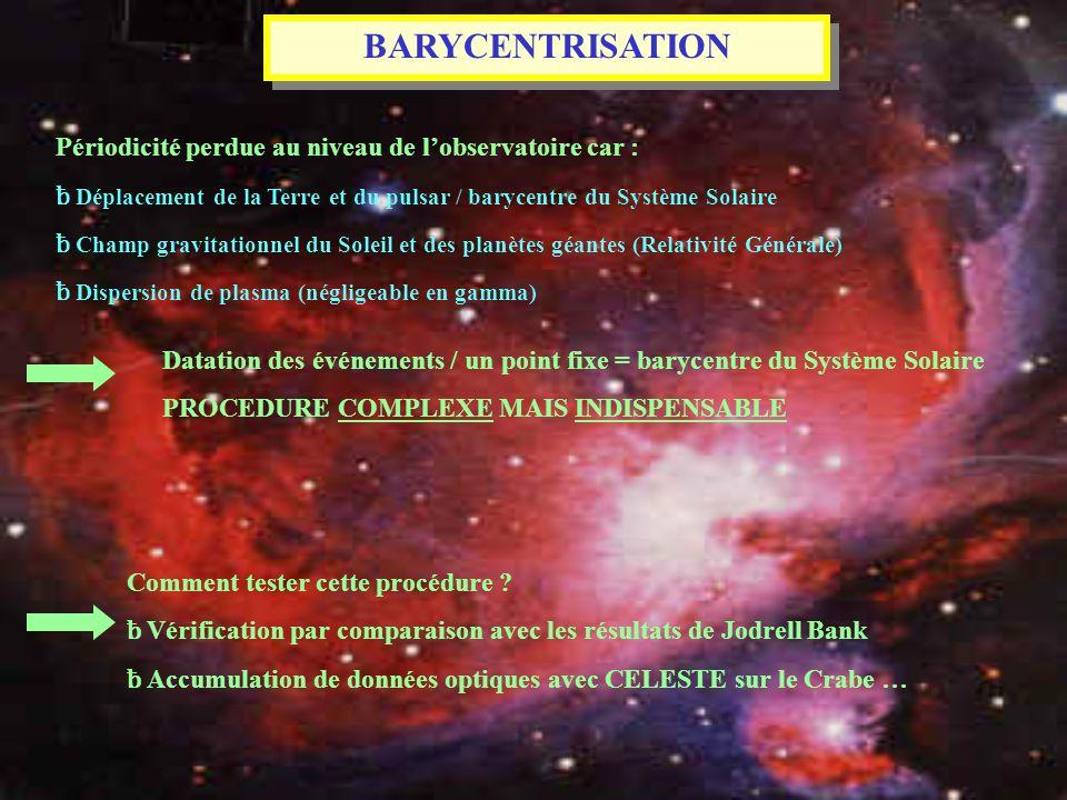 BARYCENTRISATION Périodicité perdue au niveau de l'observatoire car :