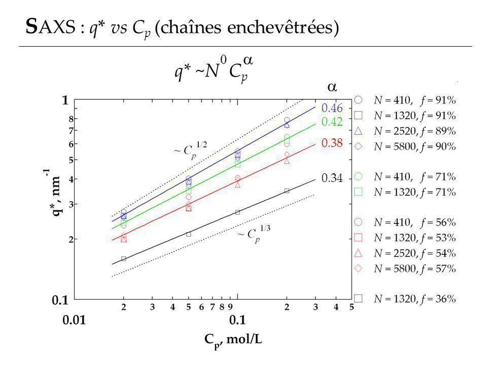 SAXS : q* vs Cp (chaînes enchevêtrées)