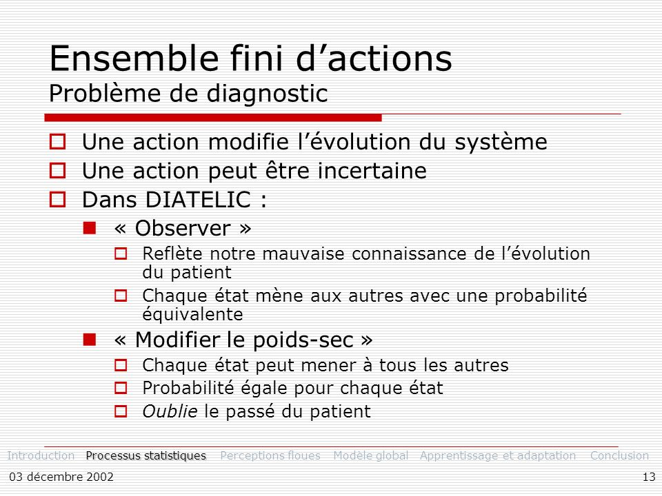 Ensemble fini d'actions Problème de diagnostic