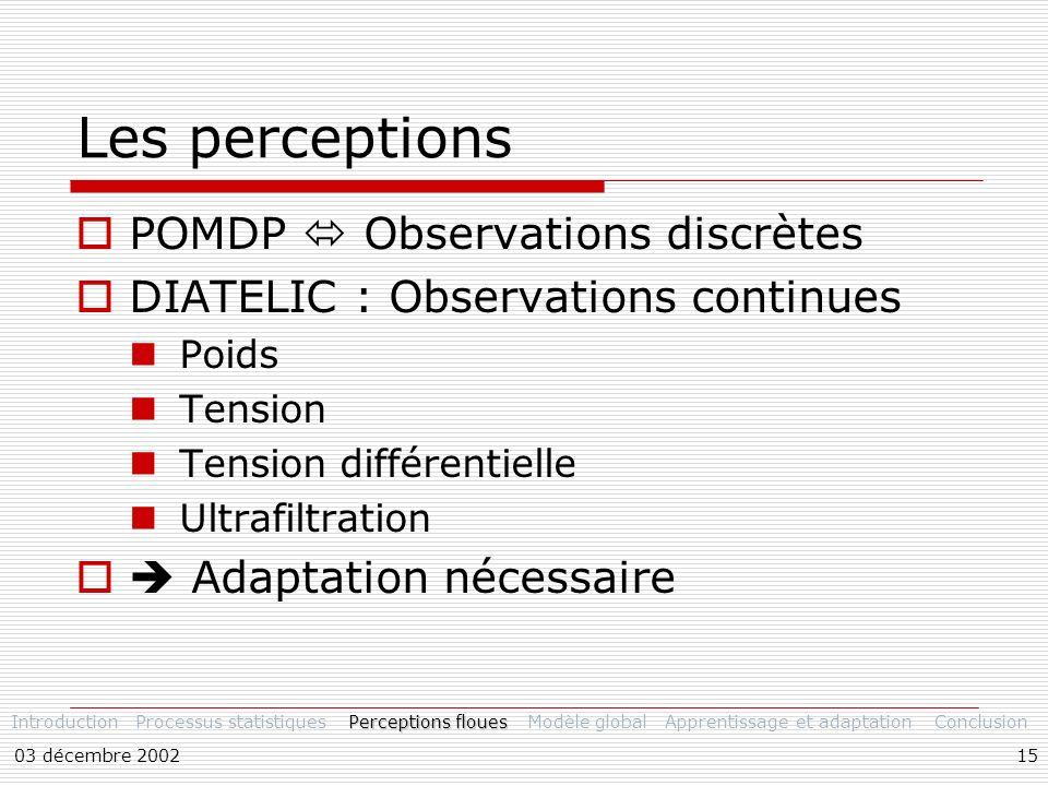 Les perceptions POMDP  Observations discrètes