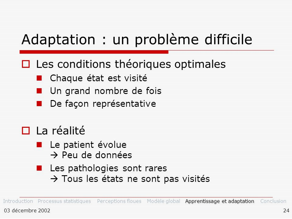 Adaptation : un problème difficile