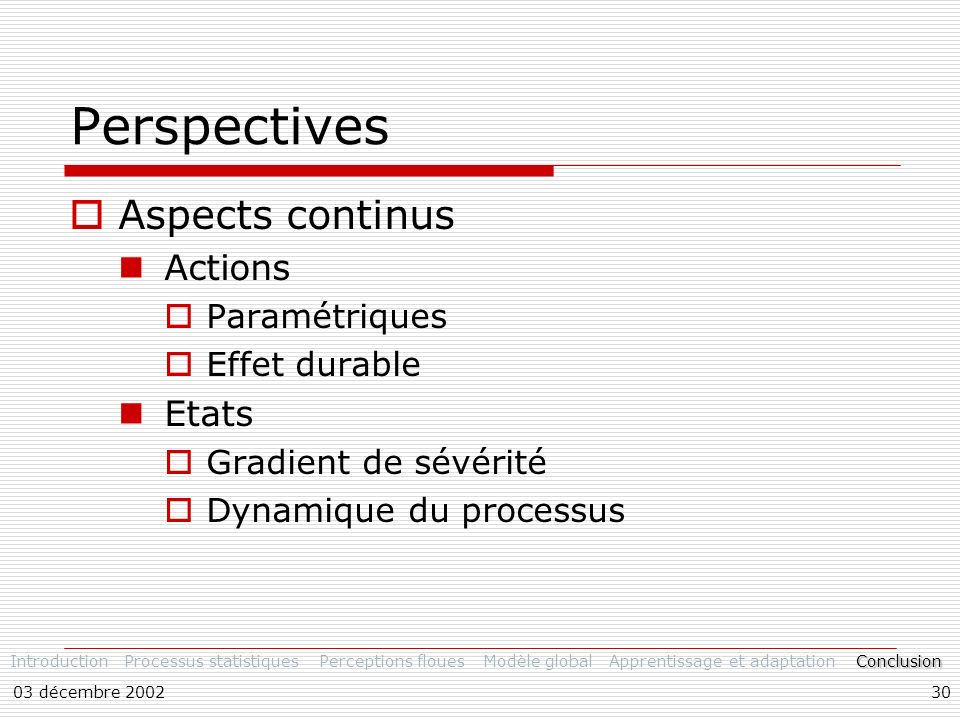 Perspectives Aspects continus Actions Etats Paramétriques