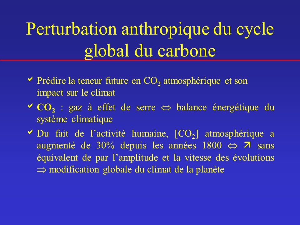 Perturbation anthropique du cycle global du carbone