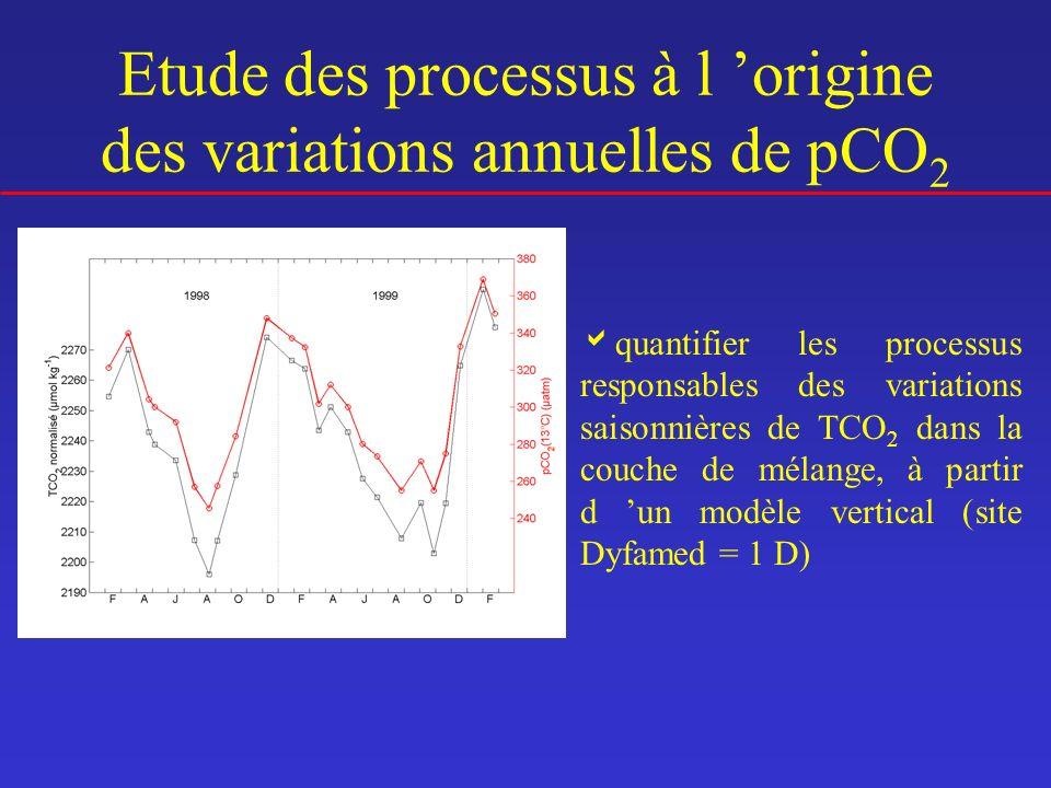 Etude des processus à l 'origine des variations annuelles de pCO2