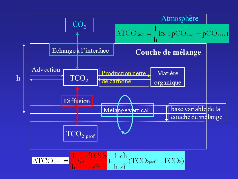 Atmosphère CO2 Couche de mélange h TCO2 TCO2 prof