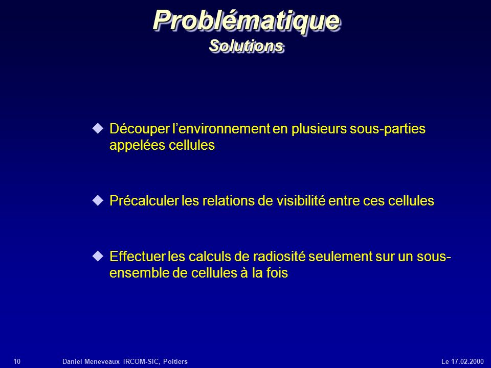 Problématique Solutions