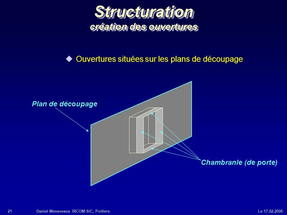 Structuration création des ouvertures
