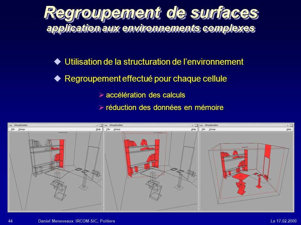 Regroupement de surfaces application aux environnements complexes