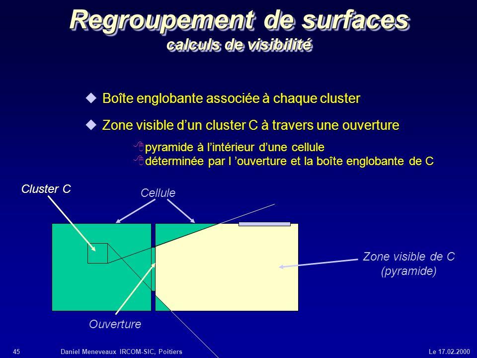 Regroupement de surfaces calculs de visibilité