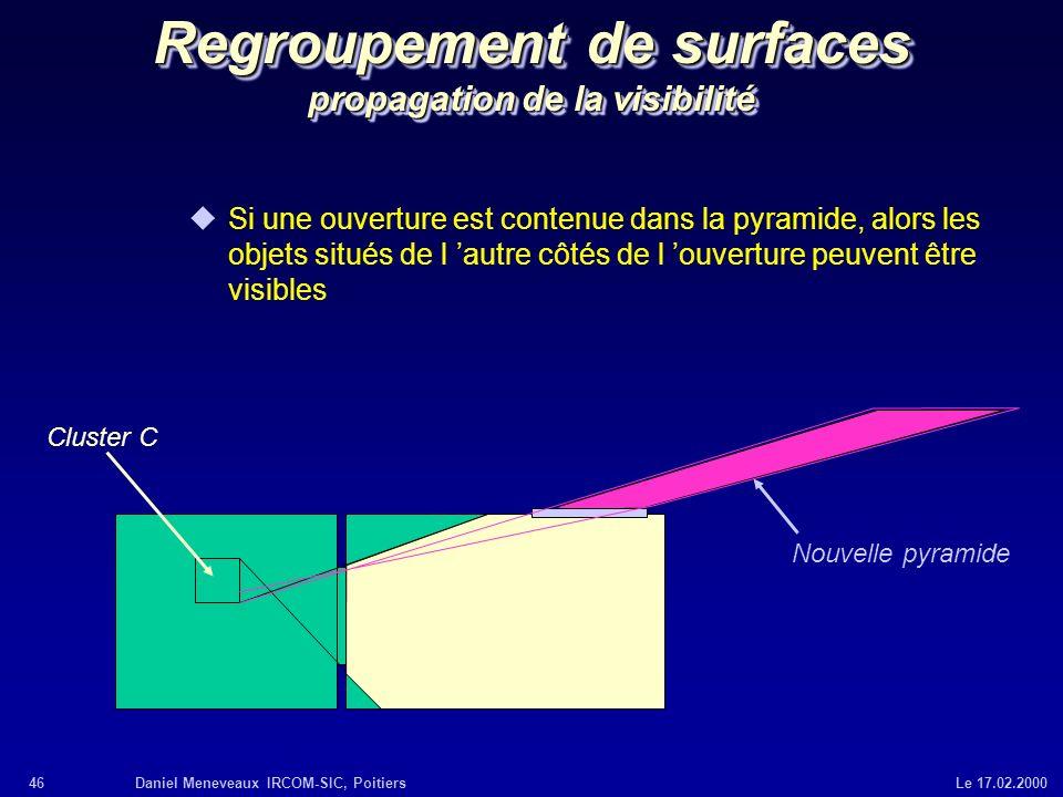 Regroupement de surfaces propagation de la visibilité