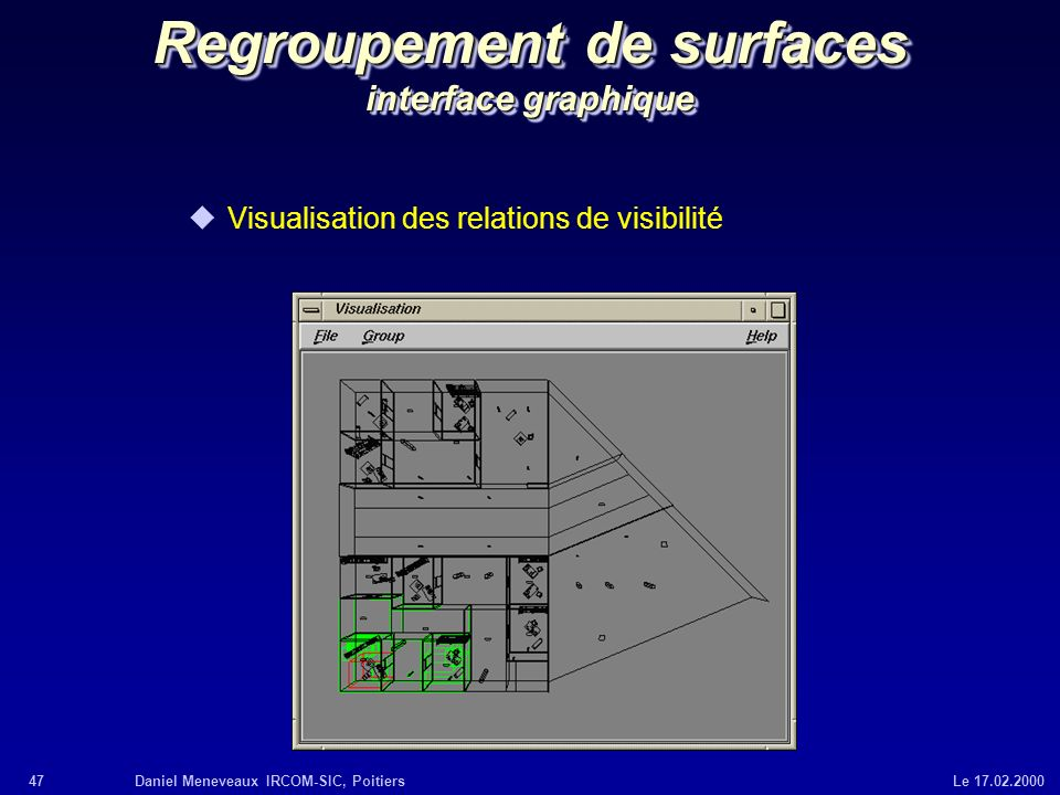 Regroupement de surfaces interface graphique