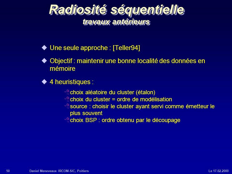 Radiosité séquentielle travaux antérieurs