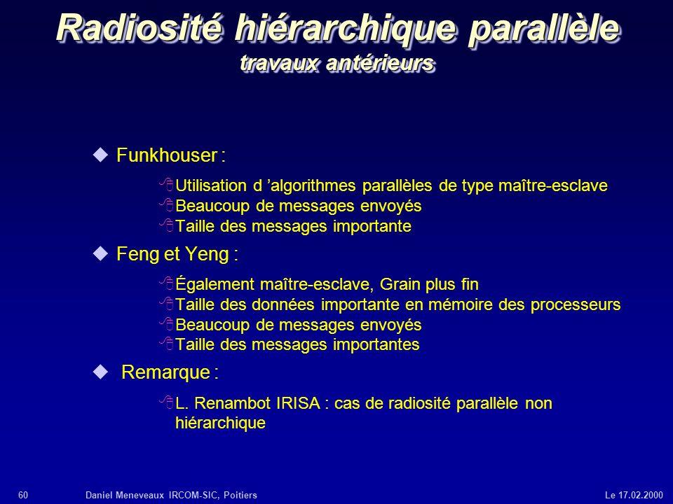 Radiosité hiérarchique parallèle travaux antérieurs