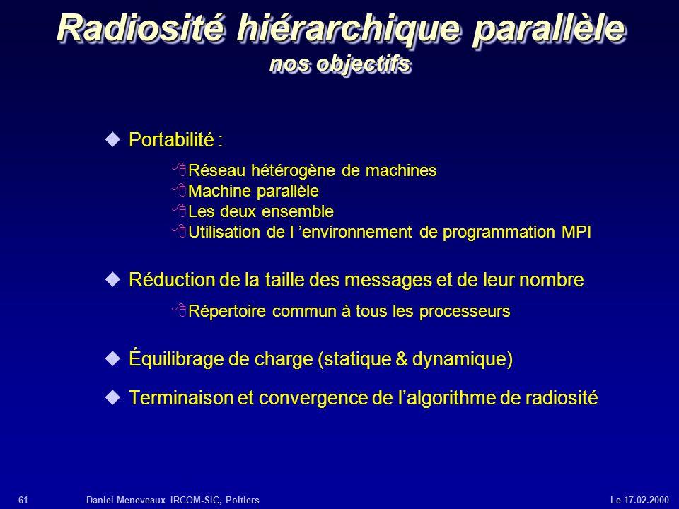 Radiosité hiérarchique parallèle nos objectifs