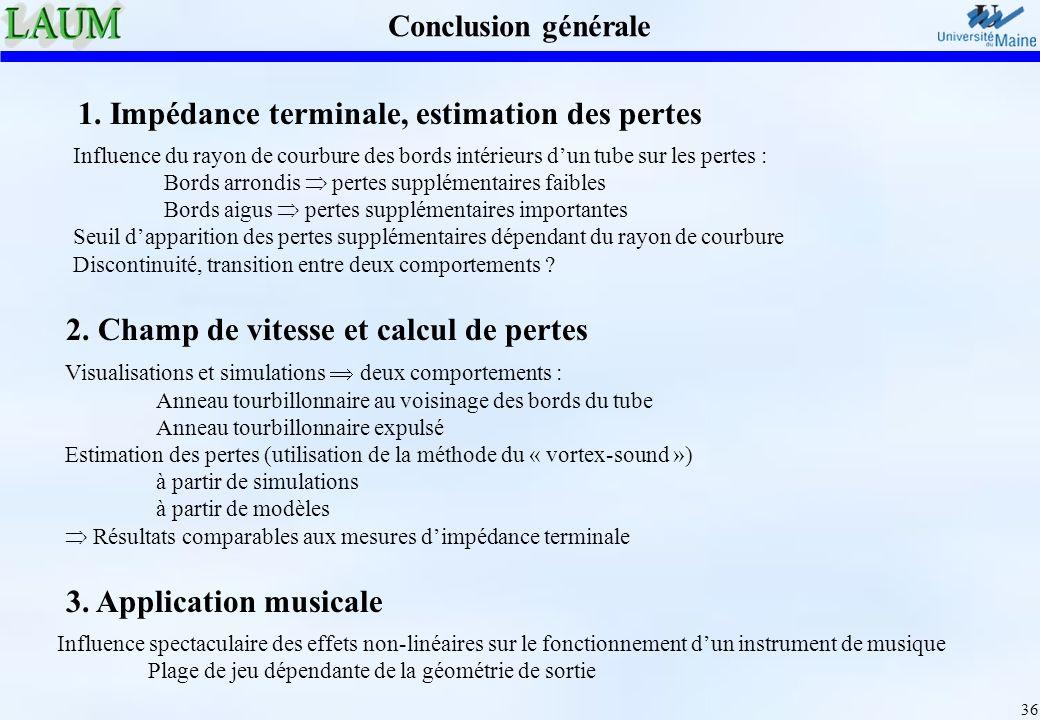 1. Impédance terminale, estimation des pertes