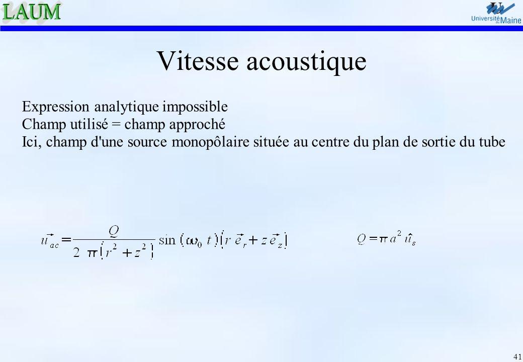 Vitesse acoustique Expression analytique impossible