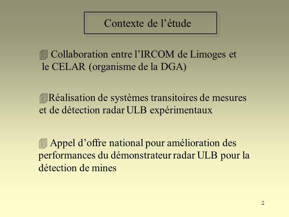 Contexte de l'étude  Collaboration entre l'IRCOM de Limoges et