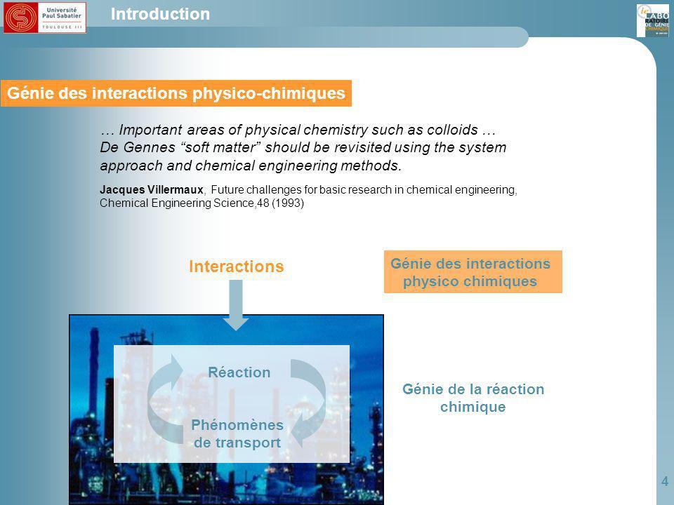 Génie des interactions physico-chimiques Génie des interactions