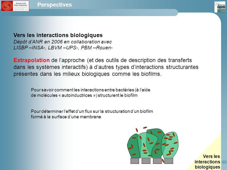 Vers les interactions biologiques