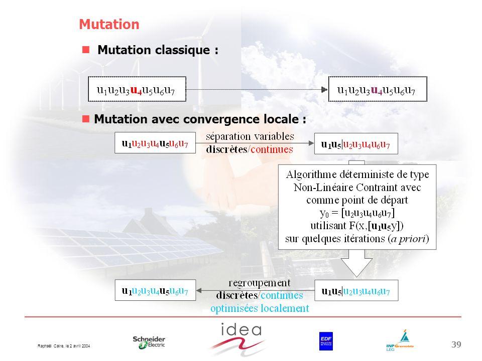 Mutation Mutation classique : Mutation avec convergence locale :