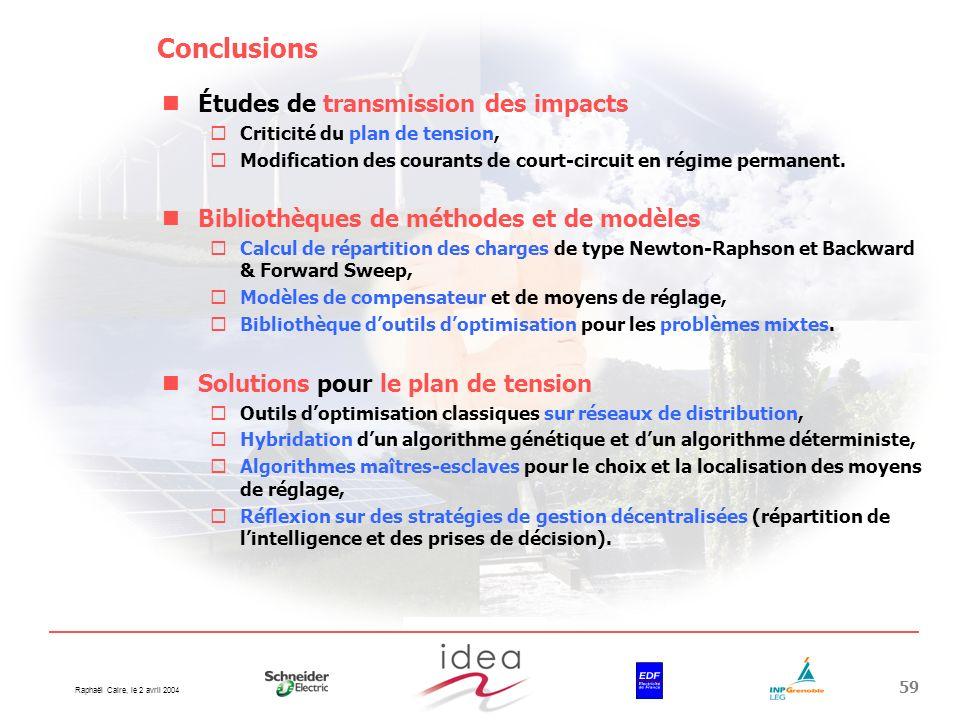 Conclusions Études de transmission des impacts