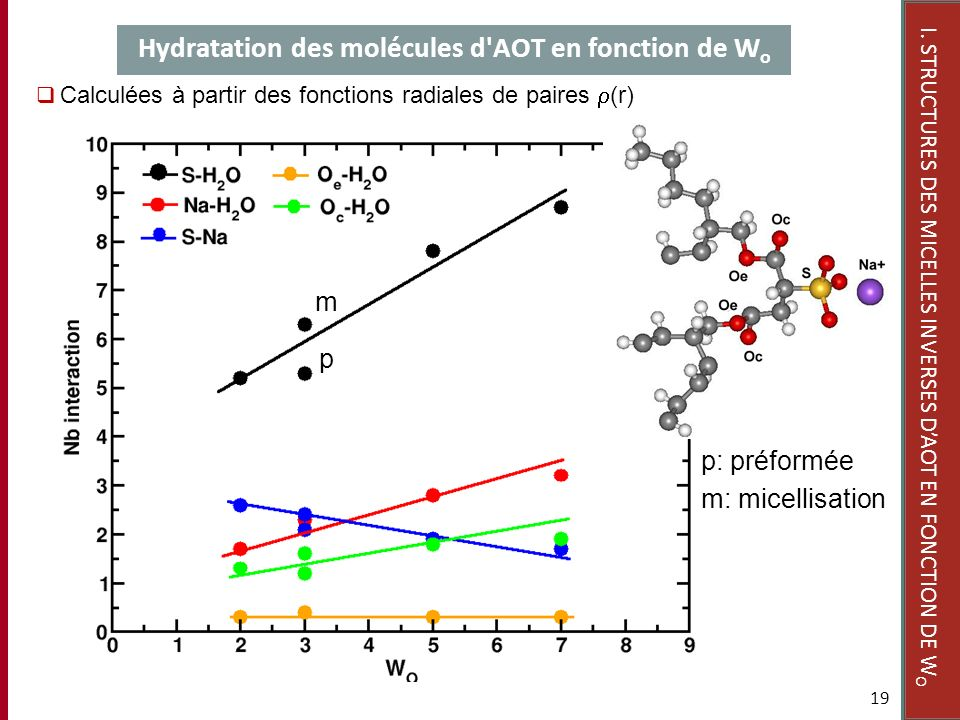 Hydratation des molécules d AOT en fonction de Wo