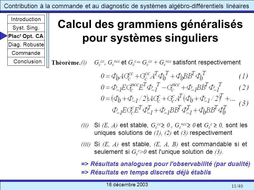 Calcul des grammiens généralisés pour systèmes singuliers